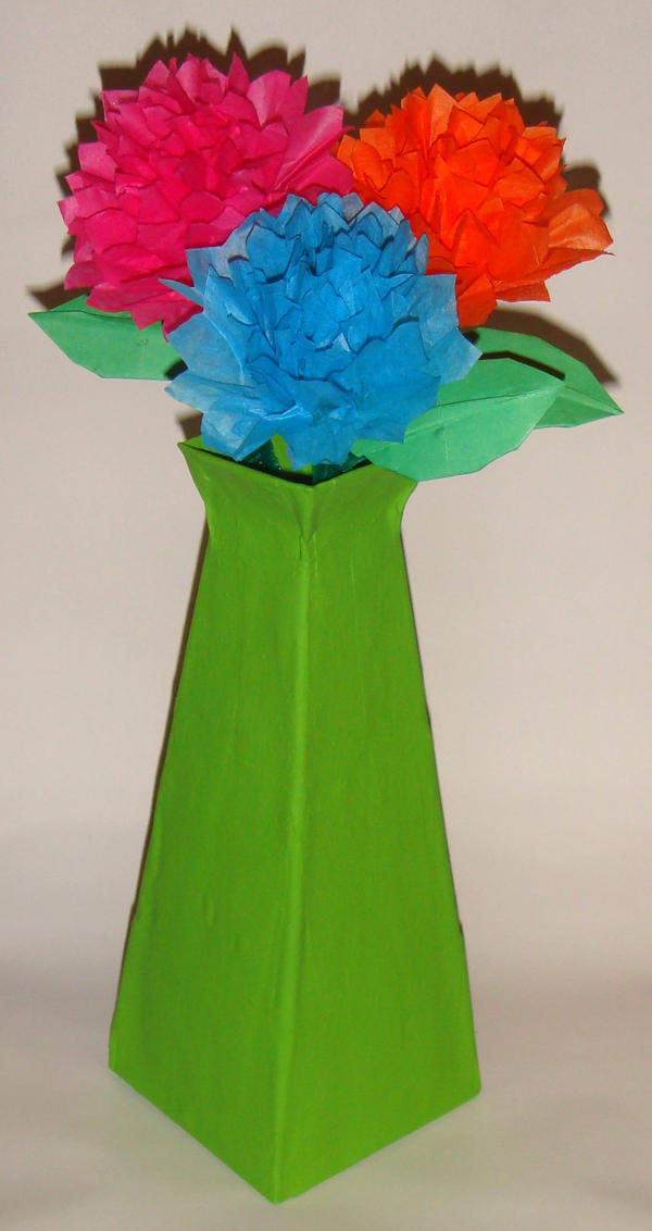 Flower Vase Made Of Paper Selol Ink