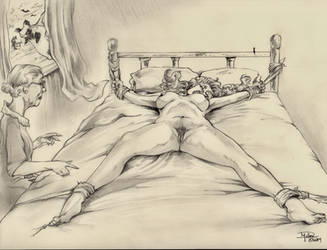 Crazy Dorothy Tied Spreadeagle to the Bed by sgtrock75