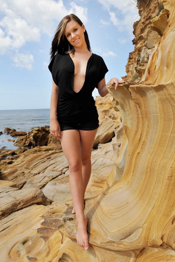 Lauren - black cowl top 2 by wildplaces