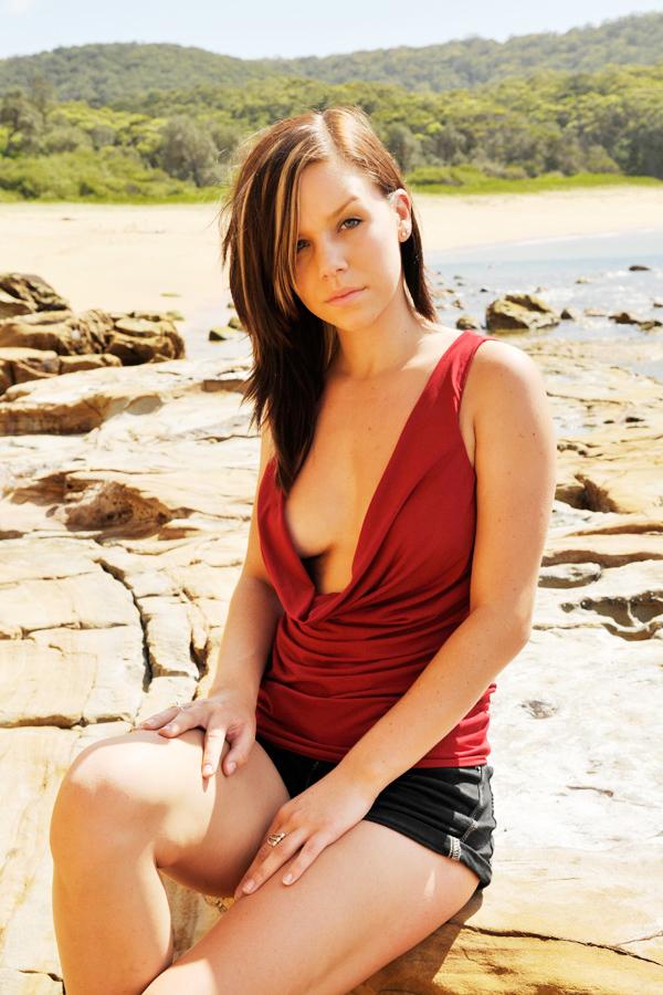Lauren - red cowl top 2 by wildplaces