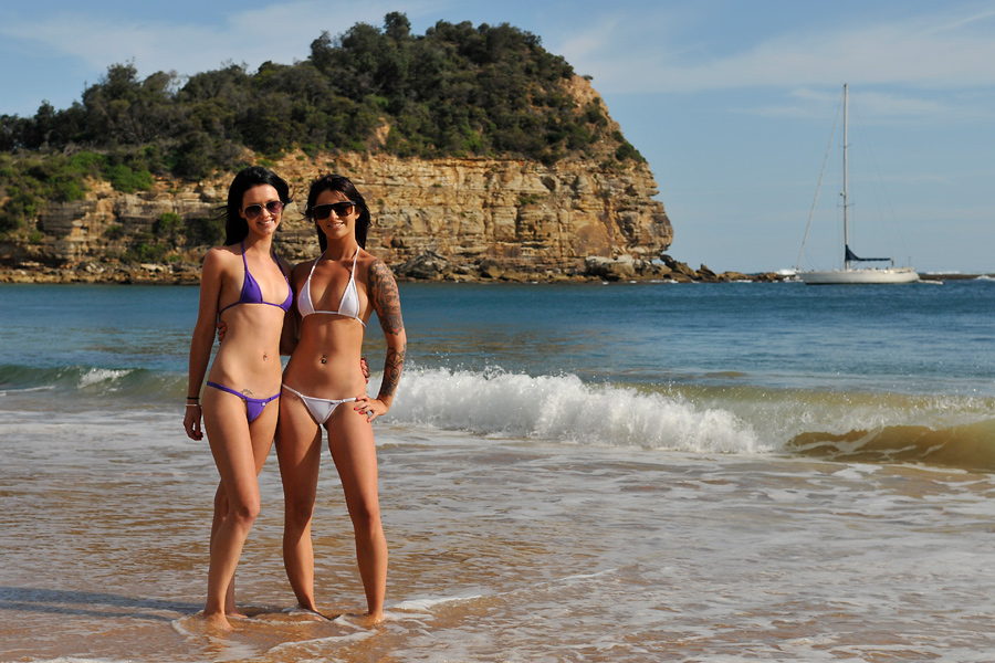 Tara and Justine - beach and boat 1 by wildplaces