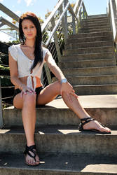 Tara - white top on steps 4 by wildplaces