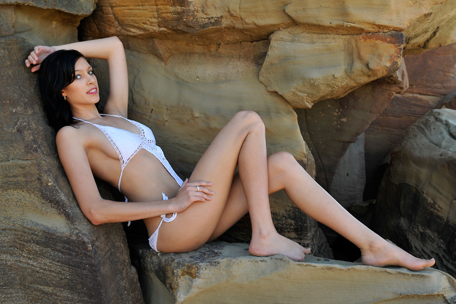 Teigan - white crochet on rocks 1 by wildplaces