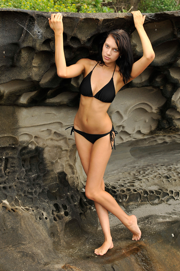Teigan - black bikini and rocks 2 by wildplaces