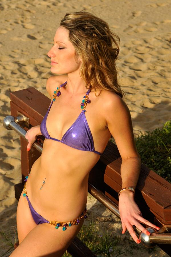 Zoe - purple bikini at railing 1 by wildplaces