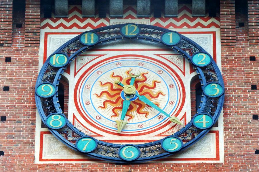 Sforza Castle clock - Milan by wildplaces