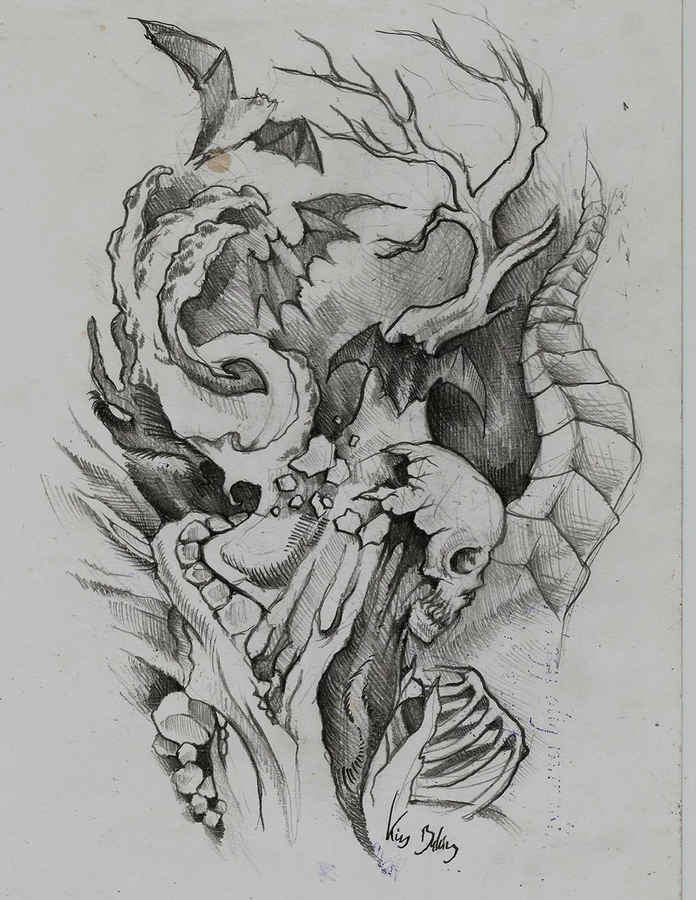 but skull tattoo design by KicsI18 on DeviantArt