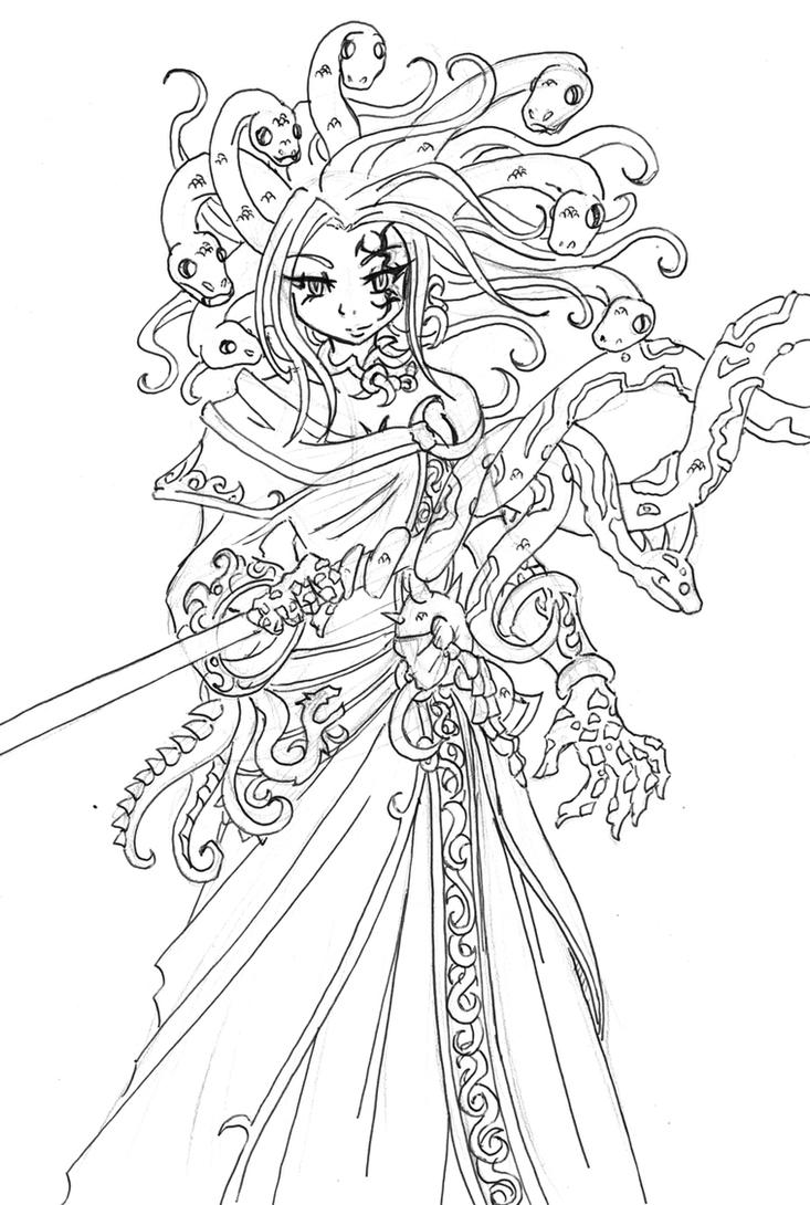 Medusa Kid Icarus Uprising Coloring Pages Sketch Page
