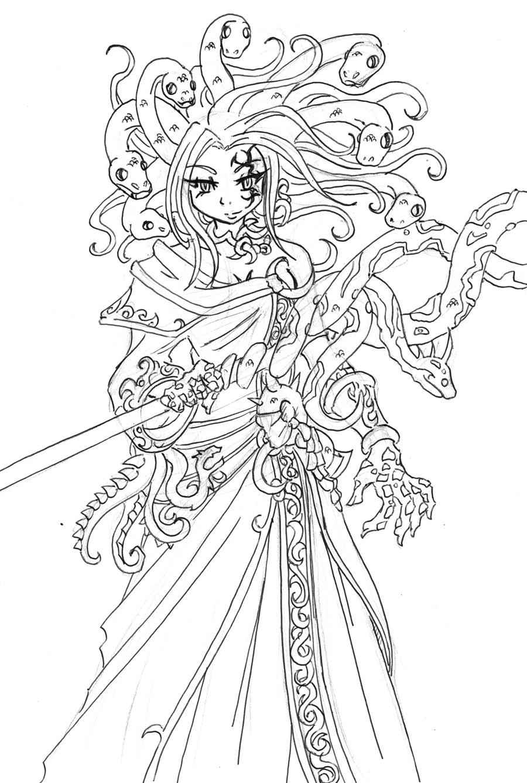 Snake Hair Of Medusa Coloring Page Netart Medusa Coloring