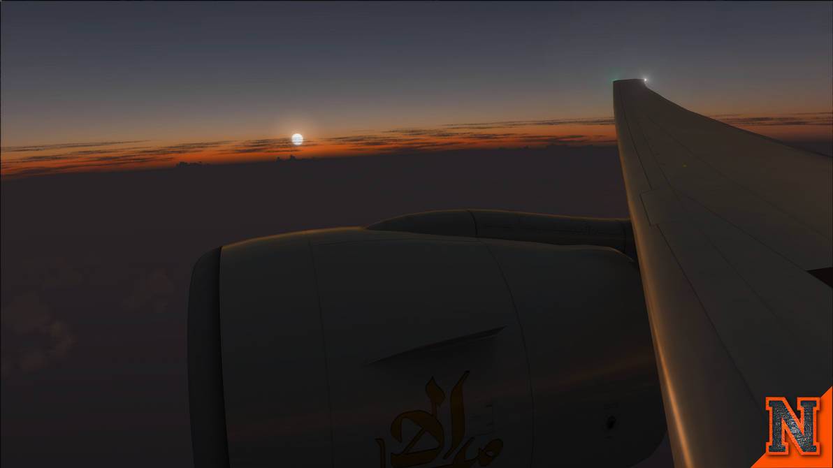 Wing View at Sunset | Boeing 777-300ER [FSX] by NovaticDesign on