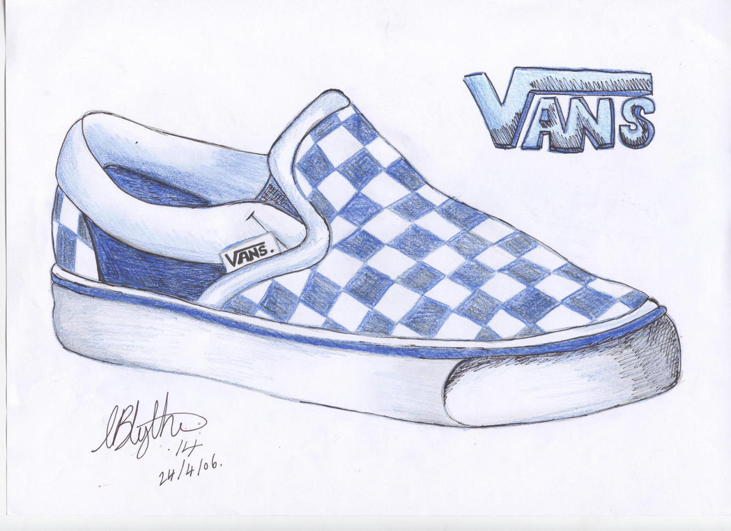 how to draw vans shoes