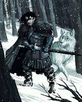 Jon Snow and Ghost by IngvardtheTerrible