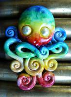 Watercolor Rainbow Octopus by BlackMagdalena