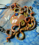 Orange and Blue Octopus Necklace