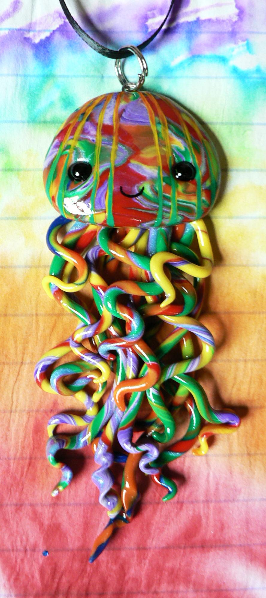 Long Rainbow Jellyfish Necklace