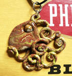 Brown Yellow Gold Octopus Necklace
