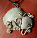 Octopus on a Clam Shell Necklace