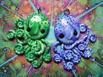 Green and Blue Twin Octopi Necklaces