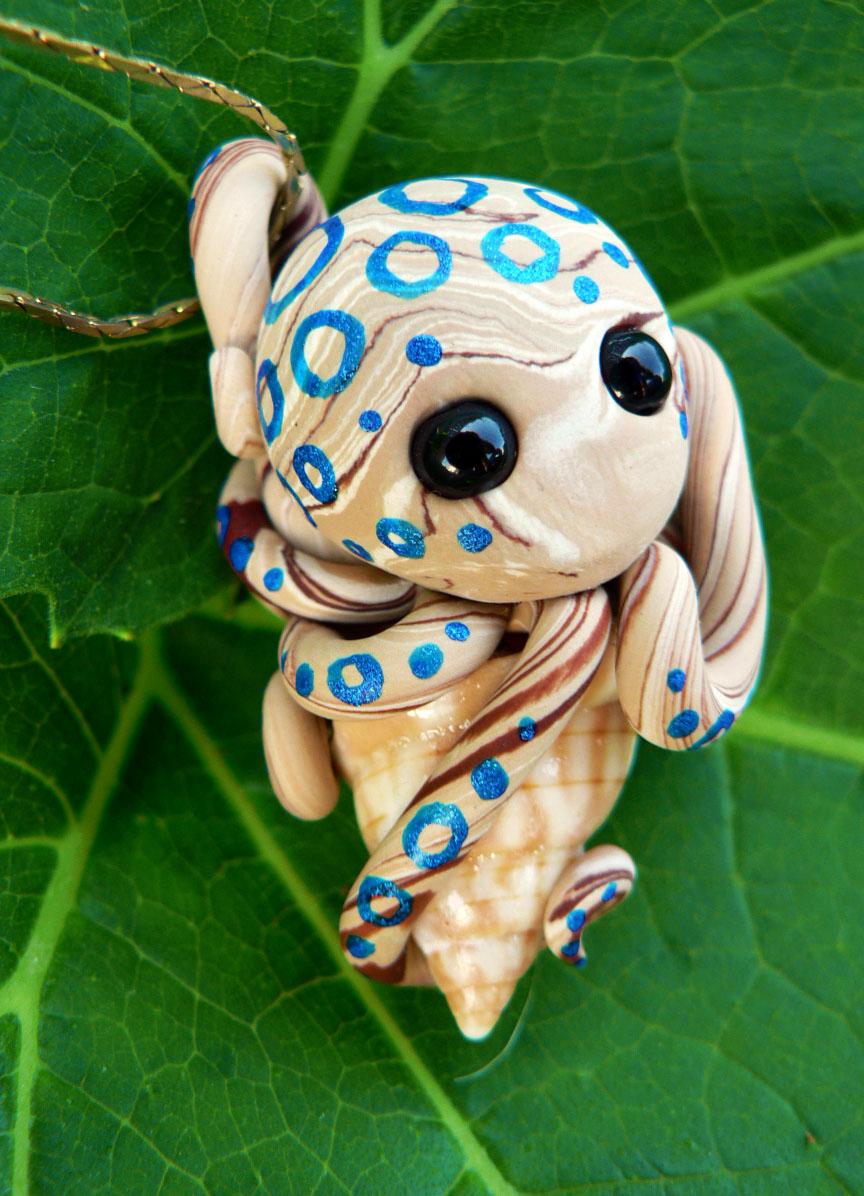 Blue Ringed Octopus on a Broken Tulip Snail