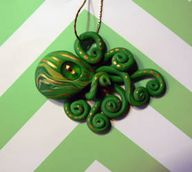 Green and Gold Octopus Necklace by BlackMagdalena