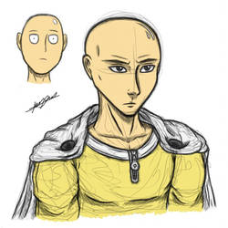 One Punch Man - Saitama (Sketch/Color) by SixteenHeadedSix