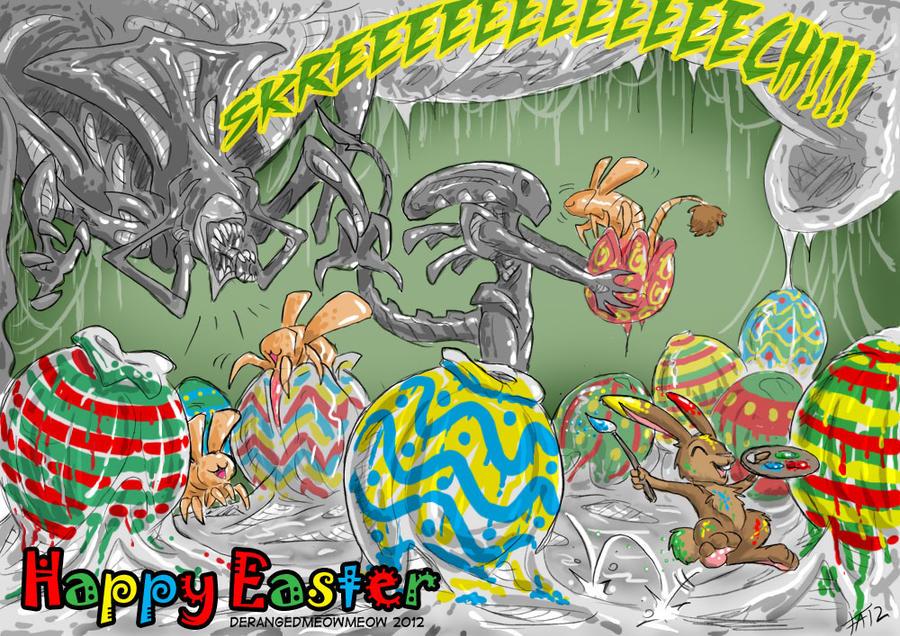 Alien vs Easter Bunny by DerangedMeowMeow