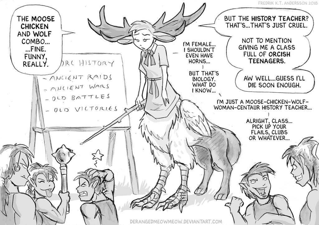 Moose Chicken Wolf Woman Centaur Thing by DerangedMeowMeow