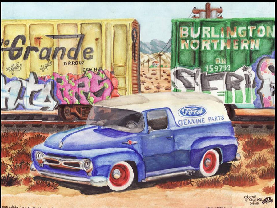 Ford truck near palm springs by fastlaneillustration on for Ford palm springs motors