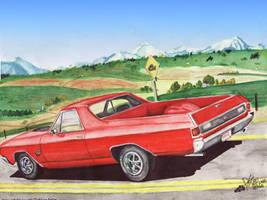 71 Chevy ElCamino Near Calgary by FastLaneIllustration