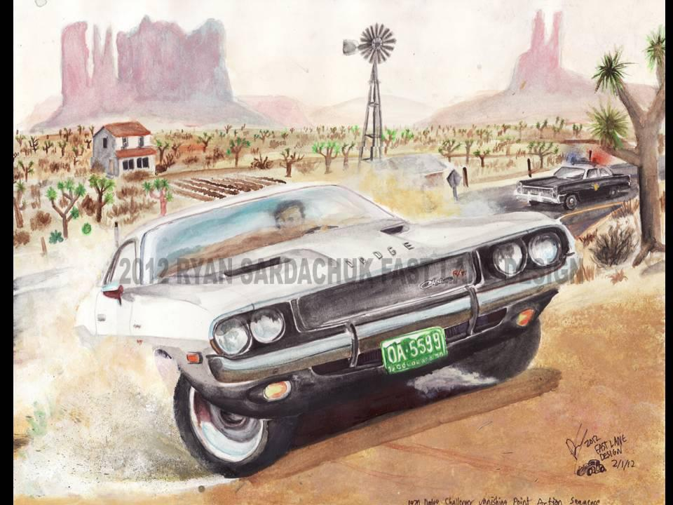 Vanishing Point Dodge Challenger Painting By Fastlaneillustration