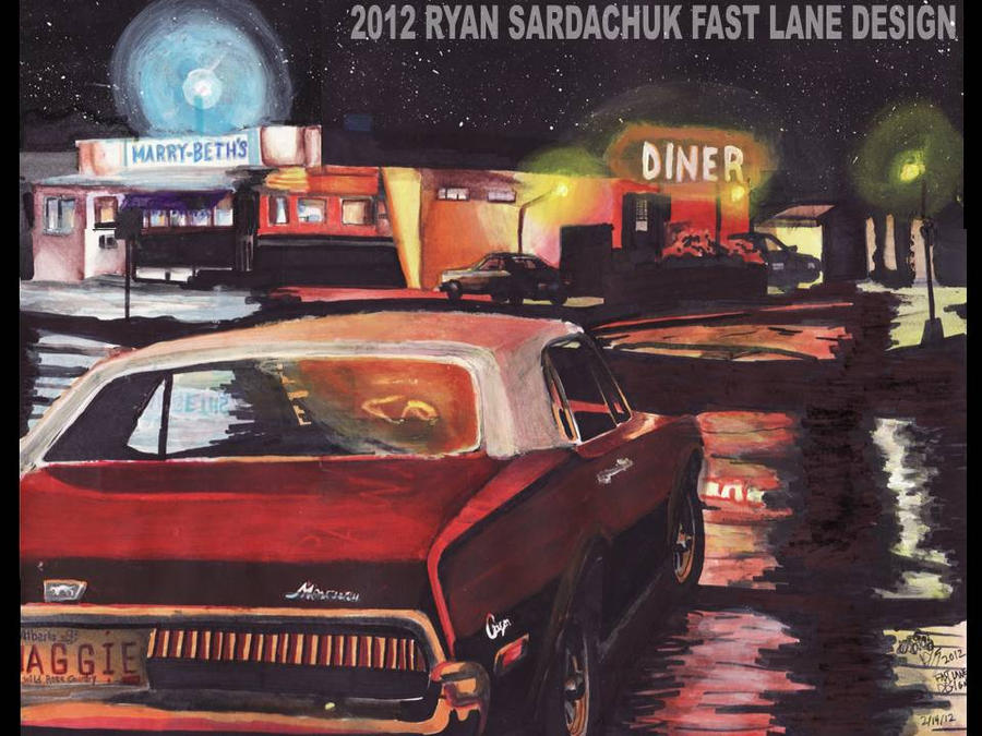 1967 Mercury Cougar At Diner During The Night by FastLaneIllustration