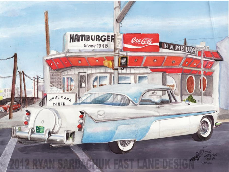 1956 desoto fireflite at the white mana diner by for Diner painting