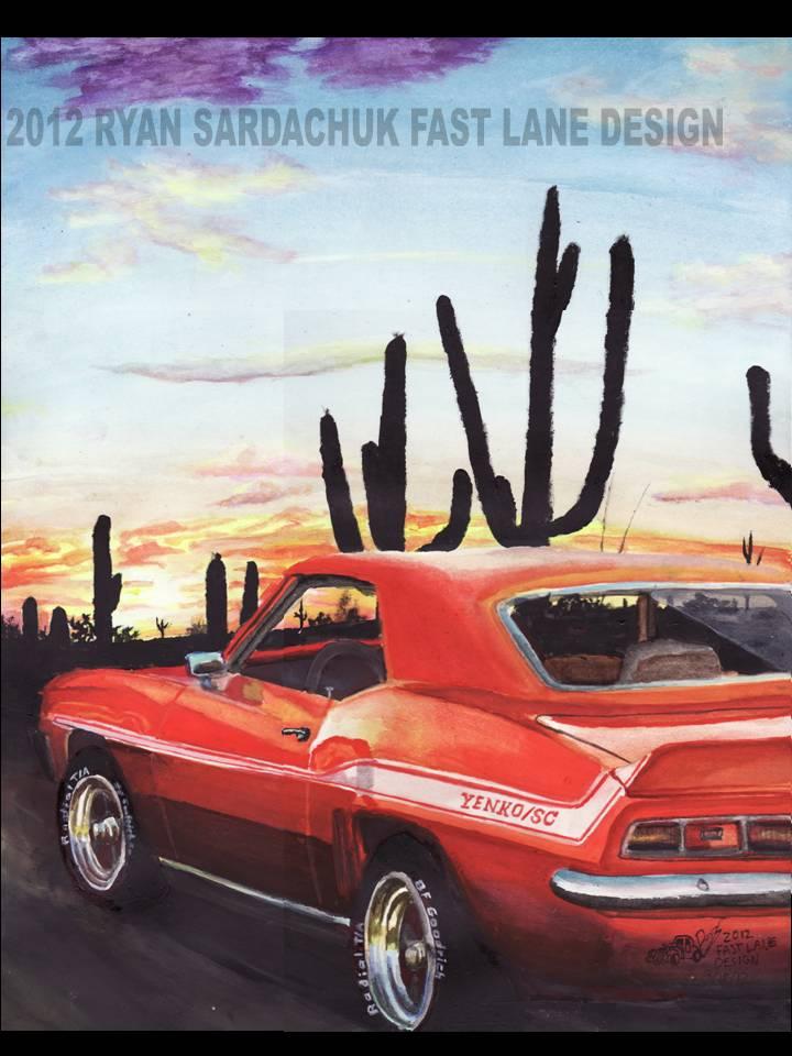 1969 Chevy Yenko Camaro During Arizona Sunset by FastLaneIllustration