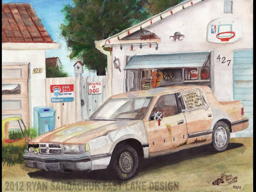 1988 Dodge Dynasty Jalopy In Back Alley by FastLaneIllustration