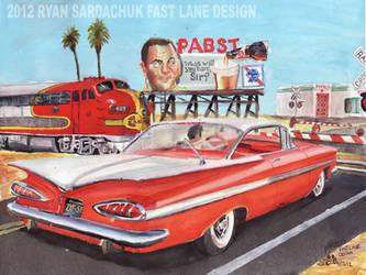1959 Chevy Impala At Railroad Crossing by FastLaneIllustration