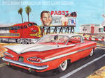 1959 Chevy Impala At Railroad Crossing