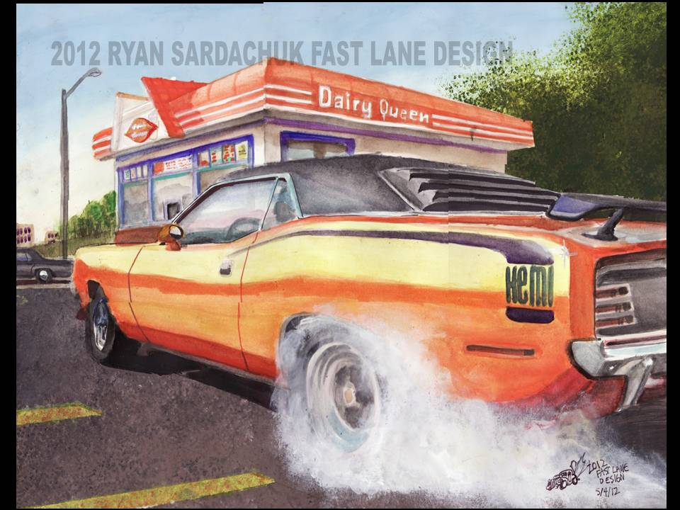 1970 Plymouth Cuda Burnin Rubber Painting By