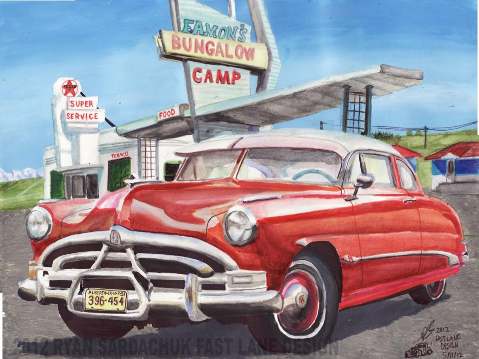 1951 Hudson Hornet At Eamon's Camp by FastLaneIllustration