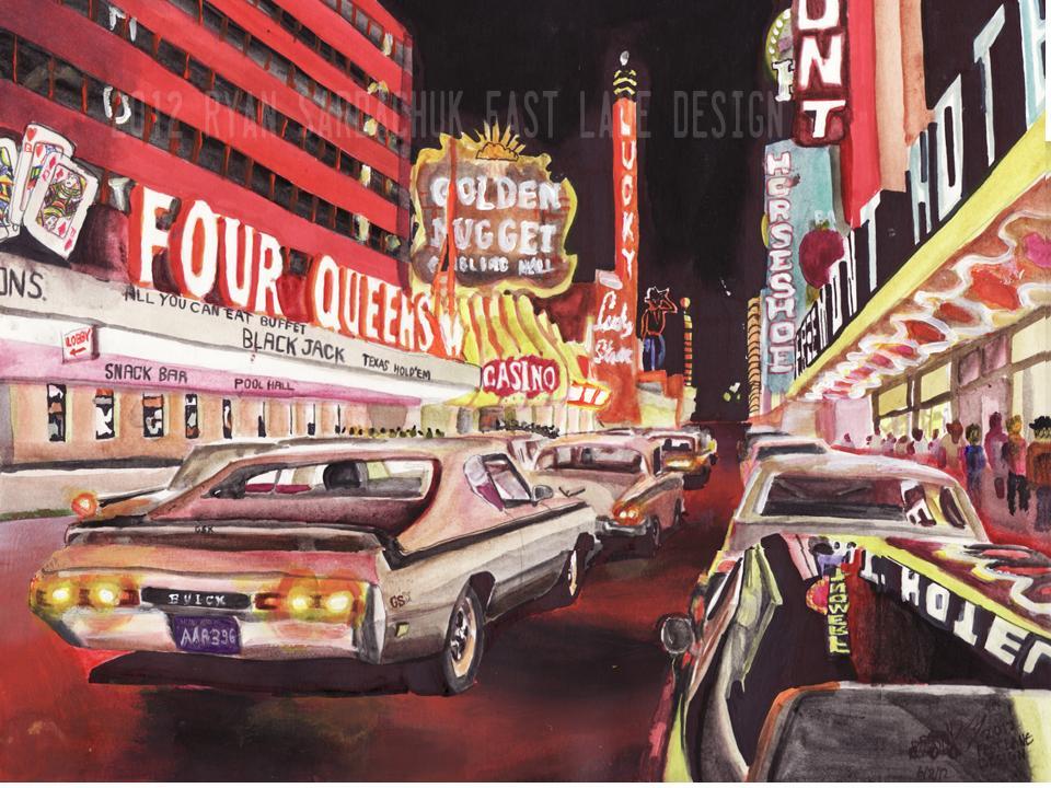 Fremont Street, Las Vegas Circa 1970 (Painting) by FastLaneIllustration