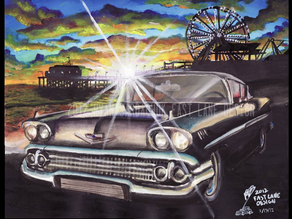 1958 Chevy Impala At Santa Monica Pier (Painting) by FastLaneIllustration