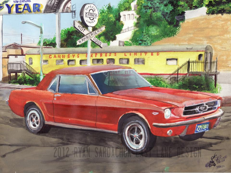 1965 Ford Mustang At Carneys, Los Angeles by FastLaneIllustration
