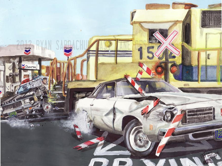 Biting The Bullet (75 Olds' Car Chase Painting) by FastLaneIllustration