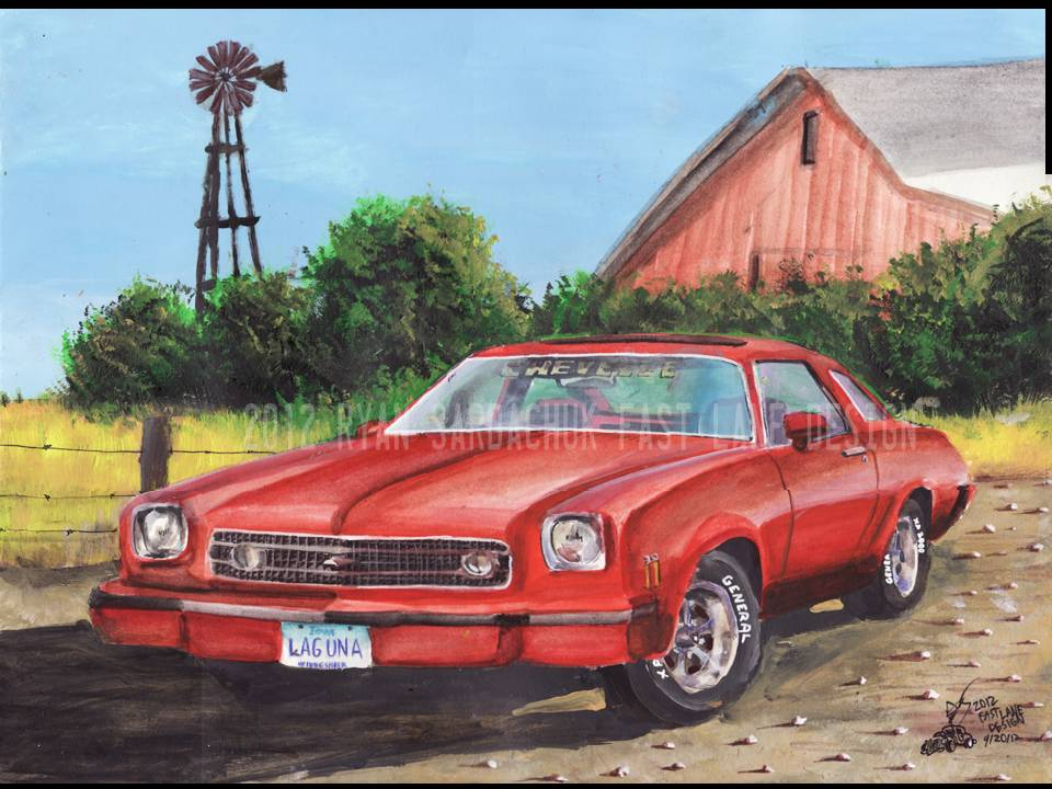 1973 Chevy Chevelle Laguna In Iowa (Painting) by FastLaneIllustration
