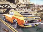 1970 Ford Mustang In Utah's Desert (Painting)