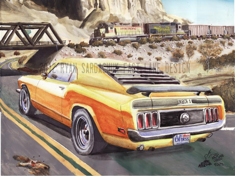1970 Ford Mustang In Utah's Desert (Painting) by FastLaneIllustration