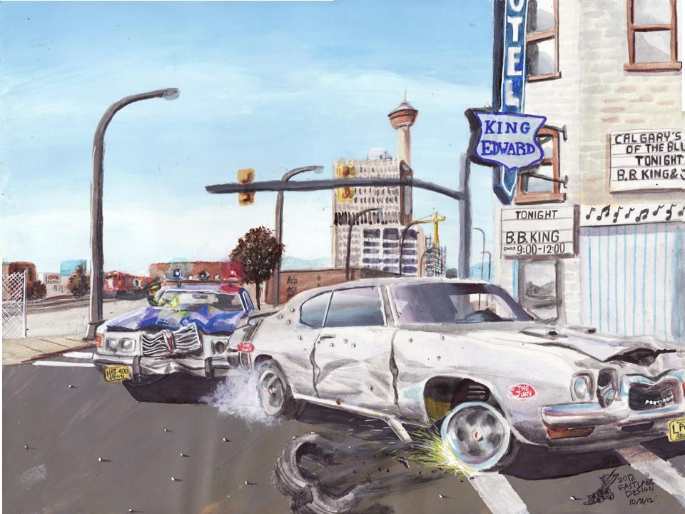 1970 Pontiac GTO Jury Car Chase Through Calgary by FastLaneIllustration
