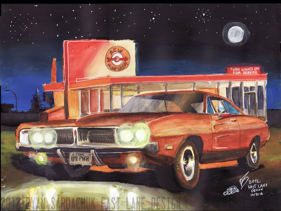 1969 Dodge Charger At A and W diner (Painting) by FastLaneIllustration
