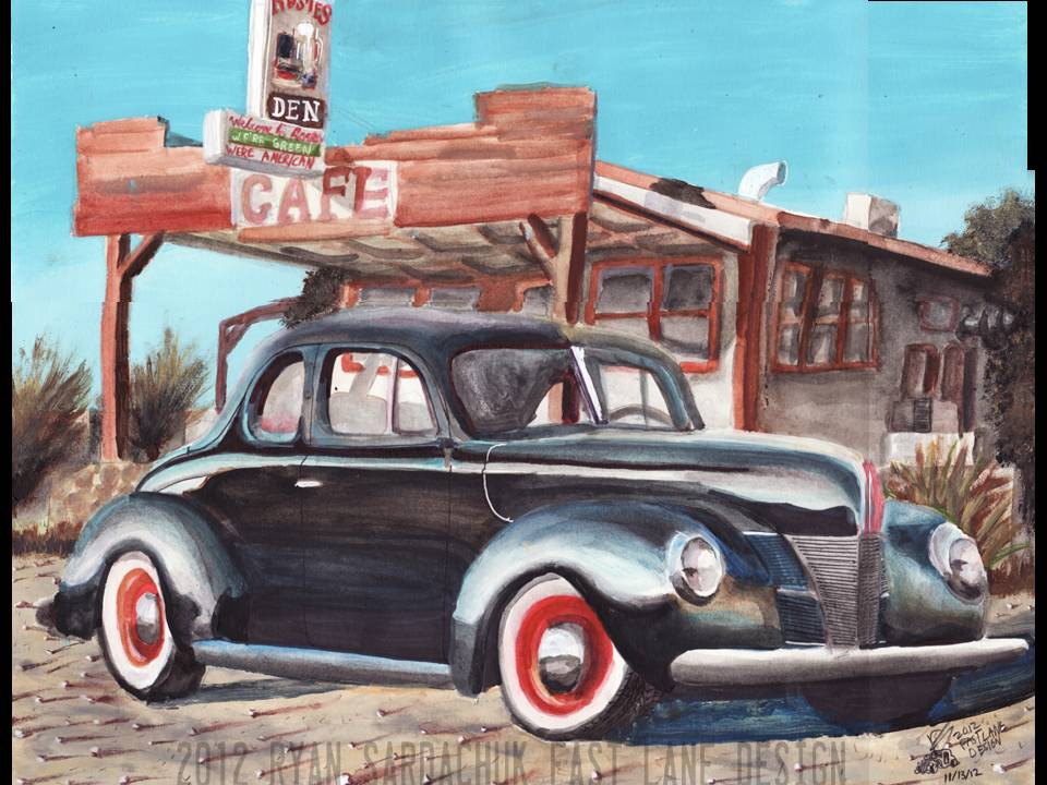 1940 Ford Coupe At Rosies Den (Painting) by FastLaneIllustration
