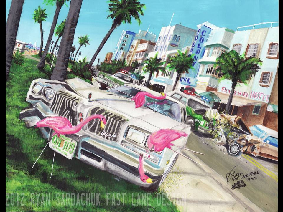 Miami Car Chase Oldsmobile Cutlass Painting By - Painting miami