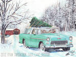 Christmas Driving (1955 Chevy Nomad Painting)